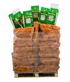 hardwood logs with 6 bags of kindling